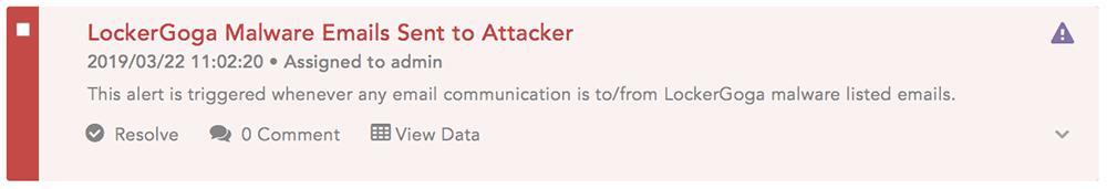 LockerGoga Malware Emails Sent to Attacker LogPoint alert