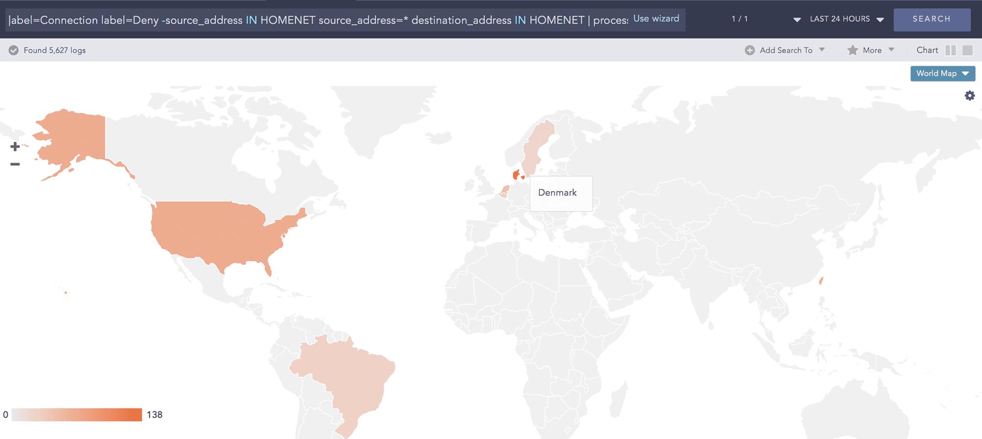 LogPoint SIEM Top 10 Denied Inbound Connection by Location