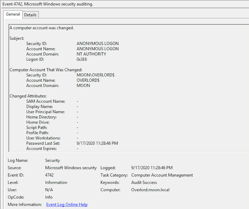 Event 4742 in Microsoft security audit